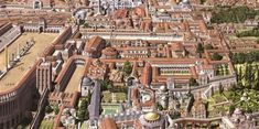 Roman/Byzantine architecture illustrations, portraits and Scenes, by Antoine Helbert Architecture Byzantine, Roman Architecture, Historical Architecture, Ancient Architecture, Istanbul, Palacio Imperial, Roman City, Medieval World, Byzantine Art