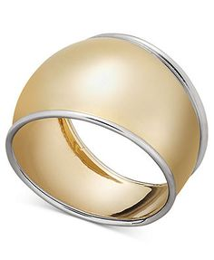 14k White Gold and Gold Ring, Cigar Band Ring