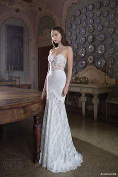 alon livne white 2015 bridal emmy fitted mermaid trumpet wedding dress lingerie straps sweetheart neckline sheer bodice