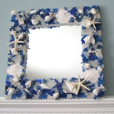 Artisan handcrafted sea glass mirror, shown in Dark Blue but available in MANY COLORS. Perfect for coastal or nautical decor, or they make fabulously unique gifts! Sea Glass Decor, Sea Glass Art, Glass Beach, Stained Glass, Seashell Crafts, Beach Crafts, Seashell Projects, Seashell Wreath, Seashell Art