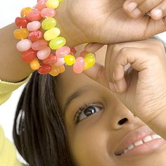 Make your own candy bracelets with jelly beans