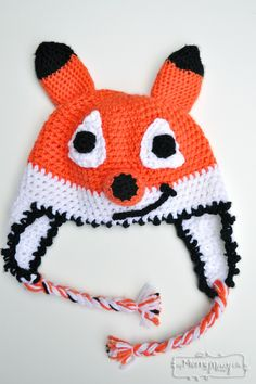 """Original pinner said, """"Crochet Friendly Fox Hat - Free Crochet Pattern for ALL sizes and perfect for Halloween!"""