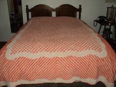 CHENILLE THICK APRICOT & WHITE TUFTS ON PEACH COTTON  BEDSPREAD 100 X 89 #Unknown