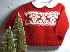 Child Knitting Patterns Christmas sweater knitting patterns: kids's pocket sweater by OGE Knitwear Designs on LoveKnitting Baby Knitting Patterns Jumper Knitting Pattern, Jumper Patterns, Christmas Knitting Patterns, Baby Knitting Patterns, Xmas Jumpers, Pull Bebe, Fair Isle Knitting, Knitting For Kids, Baby Sweaters