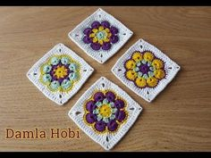 Afrika Çiçeği Motif yapılışı/Tığ işi motifler - YouTube