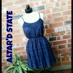 """🔮BOGO FREE NWT Navy Boho Lace Dress or Top 🔮Everything in my closet is temporarily BOGO HALF OFF. See closet sale listing for rules & end date.🔮  REDUCED FROM $32 TO $15! FINAL!  This dress is new w/tags. It's from Altar'd State. They have high quality, boutique clothing. The dress is navy blue & is fully lined. It has adjustable straps. It's a size M & would best fit sizes 6-8 & maybe a 10. It can be worn as a dress or with leggings. Measurements: Length: 35"""" Bust: 33""""-36"""" (stretched)…"""