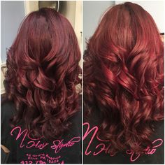 Burgundy hair color #matrixcolor #nchairstudio