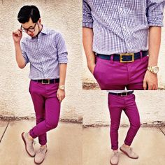 Asos Skinny Trousers, Gap Gingham Shirt, Huckstraps Navy Belt