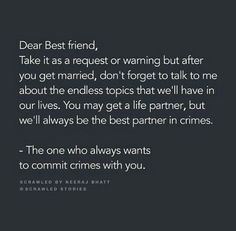 Ly u my bff Dear Best Friend, Best Friend Quotes, Besties Quotes, Cute Quotes, Crazy Friends, True Friends, Real Friendship Quotes, Appreciation Quotes, Heartfelt Quotes