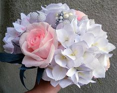 Wedding bouquet high quality crepe paper flowers - choose how many do you need - 5 or 9 ... wedding flowers bouquet paper wedding