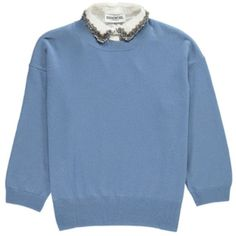 Essentiel Ofisho Knitted Sweater & Detachable Embellished Collar -... (880 ILS) ❤ liked on Polyvore featuring tops, sweaters, grey blue, grey top, 3/4 sleeve tops, three quarter sleeve sweater, gray top and three quarter sleeve tops