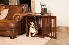 Buy Furniture Pet Crate Dog Kennel Wood Look Medium Size Cage End Table Bed at online store Wooden Dog Crate, Large Dog Crate, Crate End Tables, Wood End Tables, Dog Kennels For Sale, Cool Dog Houses, Dog Cages, Pet Cage, Crate Furniture