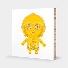 C for C-3PO or C-3PO with Silver Leg : ABC Block Bamboo Wall Art Series // Alphabet Kids Wall Art Nursery Room Decor Star Wars Sci-fi