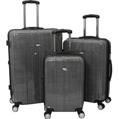 American Green Travel 3-Piece Lightweight Spinner Set ($252) ❤ liked on Polyvore featuring bags, luggage and metalic