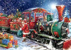 Santa Claus winter train ride in the north pole express delivering presents | PIXHOME