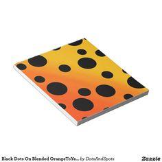 Black Dots On Blended OrangeToYellow Memo Note Pad