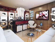Laundry Shop, Coin Laundry, Laundromat Business, Laundry Design, Corner Desk, Architecture, Bed, Table, House