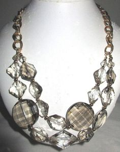 "VINTAGE ESTATE 20""-22"" DOUBLE STRAND GOLDTONE/CLEAR GEM CUT LUCITE NECKLACE"