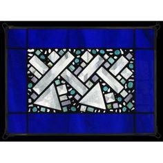 Edel Byrne Cobalt Antique Border Geometric Stained Glass Panel, Artistic Artisan Designer Window Panels