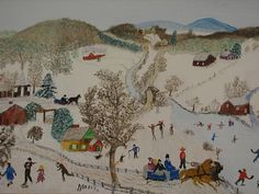 When there was snow and plenty of it Snow Scenes, Winter Scenes, Grandma Moses, Winter Pictures, Naive Art, Christmas Art, Art History, Folk Art, Art Prints