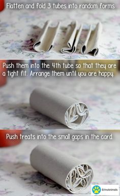 Great idea for robo / dwarf hamster toy. Diy Rat Toys, Diy Hamster Toys, Diy Bunny Toys, Diy Bird Toys, Hamster Care, Diy Toys For Rabbits, Diy Chinchilla Toys, Diy Parrot Toys, Hamster Treats
