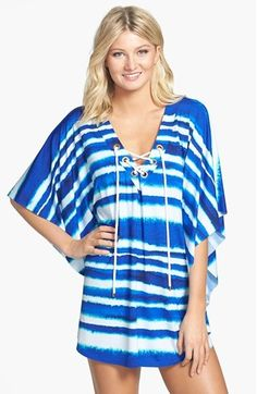 La Blanca 'Channel Islands' Cover-Up Caftan Swimsuit Cover Up Dress, Channel Islands, Fashion Advice, What To Wear, Tie Dye, Nordstrom, Swimsuits, Lace Up, Boho