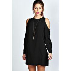 Boohoo Jen Solid Colour Open Shoulder Shift Dress (140 DKK) ❤ liked on Polyvore featuring dresses, black, cut out dress, black slip dress, black sparkly dress, black cutout dress and cold shoulder dress