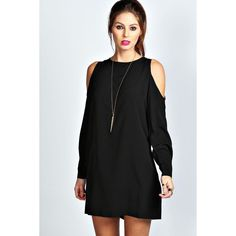 Boohoo Jen Solid Colour Open Shoulder Shift Dress (140 DKK) ❤ liked on Polyvore featuring dresses, black, cut out dress, black slip dress, black sparkly dress, black cutout dress and cold shoulder dress