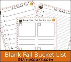 Free Blank Fall Bucket List - 3Dinosaurs.com