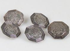 Online veilinghuis Catawiki: Vijf zilveren Staphorster knopen, ruitertjes, Jan Jonker, Meppel, 1853-1890