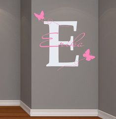 Wall Decals Vinyl Sticker Decal Home Decor Art Murals Monogram Initial Personalized Custom Name Baby Butterfly Girl Nursery Bedroom Dear Buyers, Welcome to our BestDecals Store! It's original designed stickers. Please do not copy this product! Designed by Baby Wall Decals, Wall Decor Stickers, Vinyl Wall Decals, Sticker Vinyl, Girl Nursery, Girl Room, Color Names Baby, Butterfly Bedroom, Name Wall Art