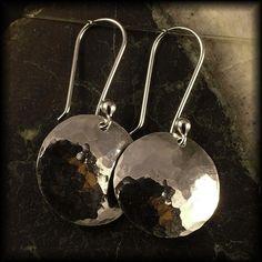 Sterling Silver Earrings /  Hammered Dangles /  by MetalRocks, $24.95