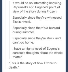 Frozen and Tangled crossover. That would make an interesting Short Film.<<<Oh my god. Disney And Dreamworks, Disney Pixar, Walt Disney, Disney Films, Disney Frozen, Disney Love, Disney Magic, Disney Stuff, Fandoms