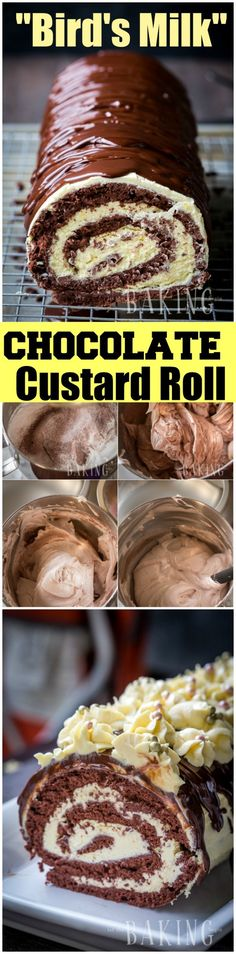 Chocolate Custard Roll - {Birds Milk Roll} - A foolproof recipe with photo step by step instructions   Let the Baking Begin!