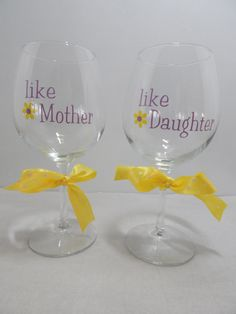 Mother and Daughter Wine Glass Set by BonniesBlossoms on Etsy