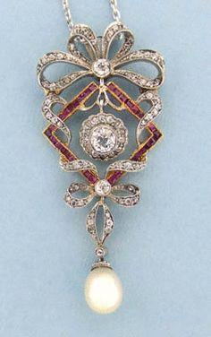 Ruby, Diamond & Pearl Belle Epoque Pendant