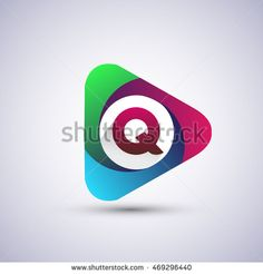 logo letter Q colorful icon in the triangle shape, Vector design template…