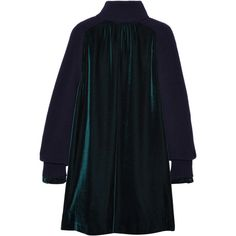 Sacai Sacai - Wool-paneled Velvet Dress - Emerald (£1,005) ❤ liked on Polyvore featuring dresses, velvet dress, sacai, wool dresses, keyhole dress and woolen dress
