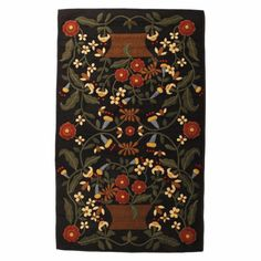 The rectangle Busy Bee primitive wool penny rug is hand stitched crimson flowers & honey bees flying around chocolate brown baskets. Sizes Available