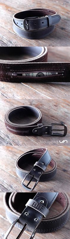Handmade Mens Leather Belt by JooJoobs This belt has a secret, hidden pocket sewn into the inside lining. The belt is handmade and will last a lifetime. #JooJoobs #belt #handmade