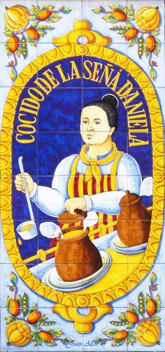 Azulejos del restaurante La Señá Daniela, donde solo se sirve cocido, plato típico de Madrid.