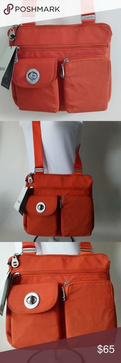 Baggallini Sydney Silver Crossbody Bag Orange Baggallini Sydney Silver Crossbody Bag. Lightweight and Water Resistant with multifunctional pockets. Quick Access Phone Pocket. Baggallini Bags Crossbody Bags
