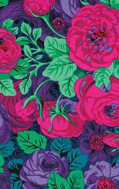 Buy fabric designed by Kaffe Fassett, Philip Jacobs and Brandon Mably. The Kaffe Collective from florence Rose Fabrics Hand Painted Wallpaper, Fabric Wallpaper, Cute Wallpaper Backgrounds, Cute Wallpapers, Flora Flowers, Mural Art, Art Pictures, Print Patterns, Fabric Patterns