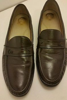 SAS Men's size 13 N dark brown casual dress loafer slip on leather shoes USA