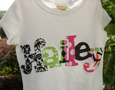 Personalized Appliqued Name Shirt by Giggle by GiggleBabyDesigns, $30.00