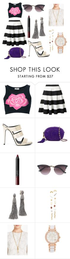 """CROPPED FLORAL TANK TOP"" by jamuna-kaalla ❤ liked on Polyvore featuring Krizia, Akris Punto, Giuseppe Zanotti, Chanel, NARS Cosmetics, Gucci, Oscar de la Renta, Madewell, Aurélie Bidermann and Michael Kors"