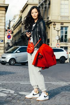 September 29, 2014  Tags SS15 Women's, Black, Red, White, Paris, Nike, Sung Hee Kim, Women, Grey, Model Off Duty, Models, Leather Jackets, Graphic Tees, Sneakers, Bags, Sweatpants, 1 Person