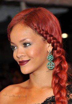 The Rihanna Side Braid Makes Its Debut Along With Her Fire Engine-Red Hair #hair trendhunter.com