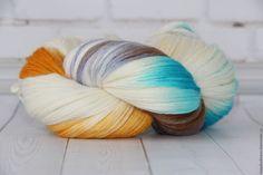 Купить Пряжа ручной окраски Кашемир 100% - комбинированный, кашемир 100%, пряжа для вязания спицами