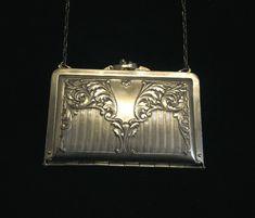 Art Nouveau Silver Plated Purse 1912 Duplex Compact Purse Formal Dance Purse Extremely Rare